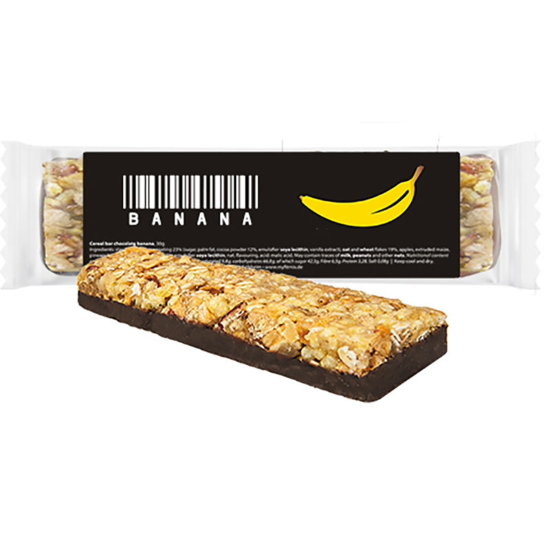Müsliriegel Schokolade-Banane, ca. 30g, Express Flowpack mit Etikett