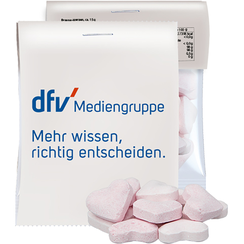 Brause-Herzen Erdbeere und Wildkirsche, ca. 15g, Express Midi-Tüte mit Werbereiter