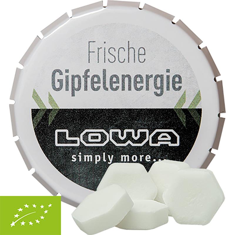 Bio Traubenzucker-Drops mit Orangengeschmack, ca. 20g, Klick-Klack-Dose