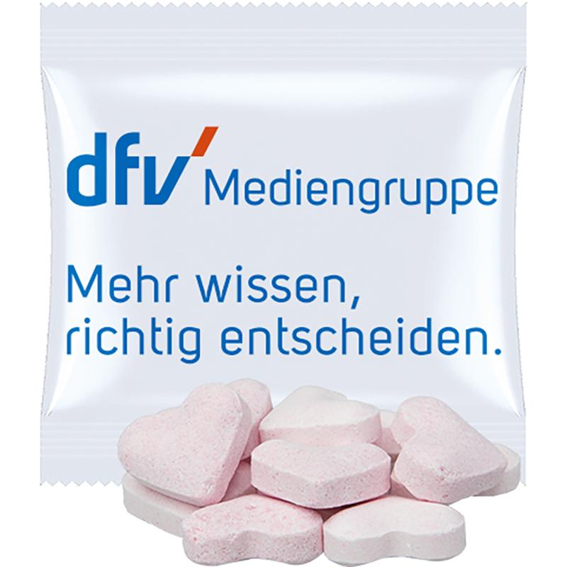 Brause-Herzen Erdbeere und Wildkirsche, ca. 10g, Mini-Tüte