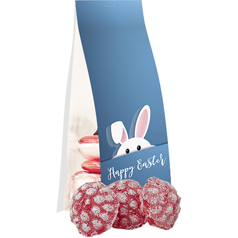 Himbeer Bonbons, ca. 40g, Express Standbeutel mit Werbereiter