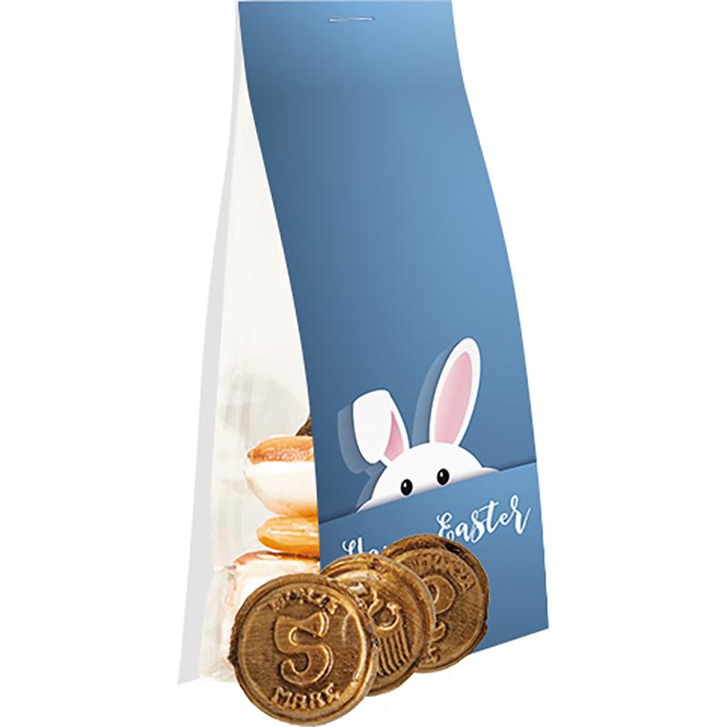Knuspertaler Bonbons, ca. 40g, Express Standbeutel mit Werbereiter