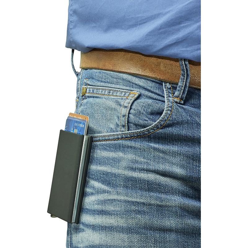 Kartenhalter 'Purse' aus Aluminium RFID mit Softtouch Oberfläche