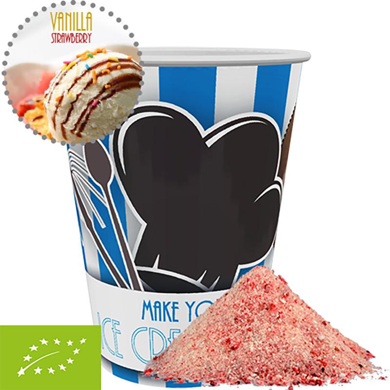 Bio Eis Mischung Vanille-Erdbeere, ca. 50g, Snackbecher Maxi
