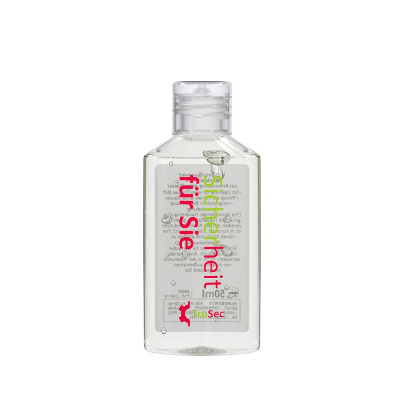 50 ml Flasche (kristallklar) - Handreinigungsgel antibakteriell - No Label Look