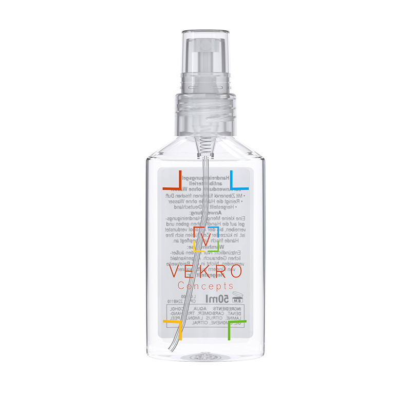50 ml Spray (kristallklar) - Handreinigungsspray antibakteriell - No Label Look