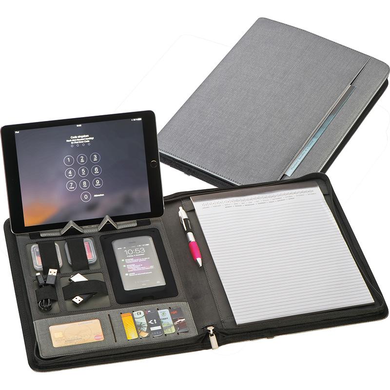 A4 Schreibmappe aus Kunstleder mit integrierter Powerbank