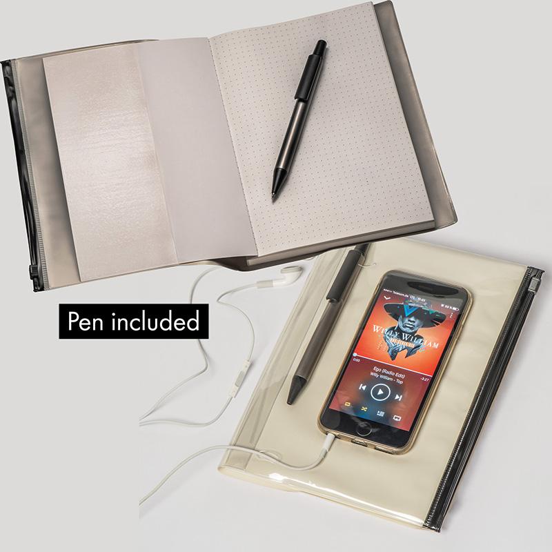 Notizbuch mit PVC Umschlag, inkl. Kugelschreiber