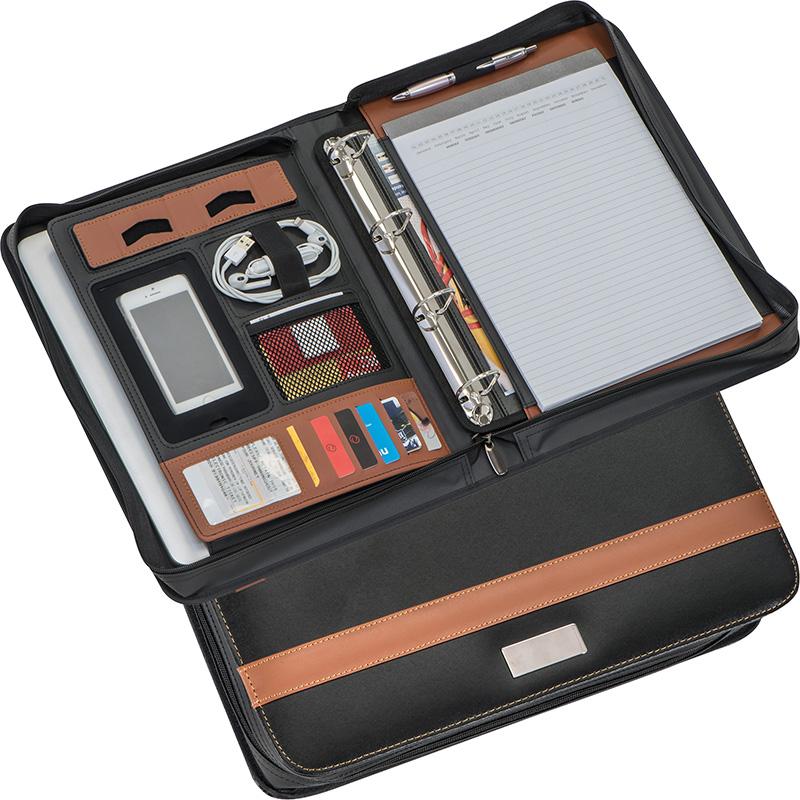 A4 Schreibmappe aus Lederfaserstoff mit Ringbuchmechanik