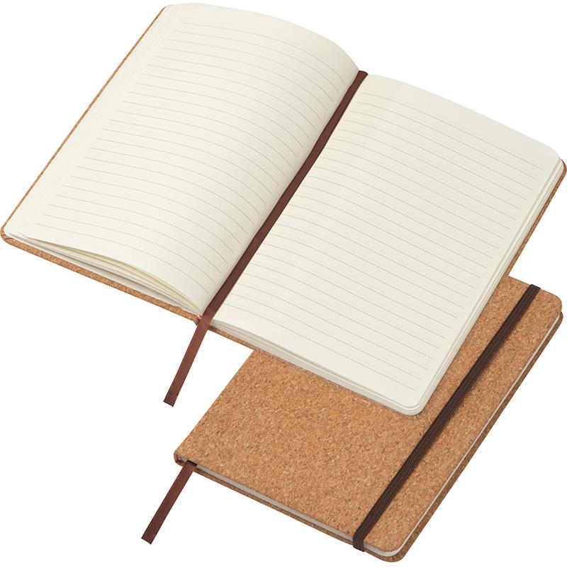 A5 Notizbuch mit Korkeinband und linierten Seiten