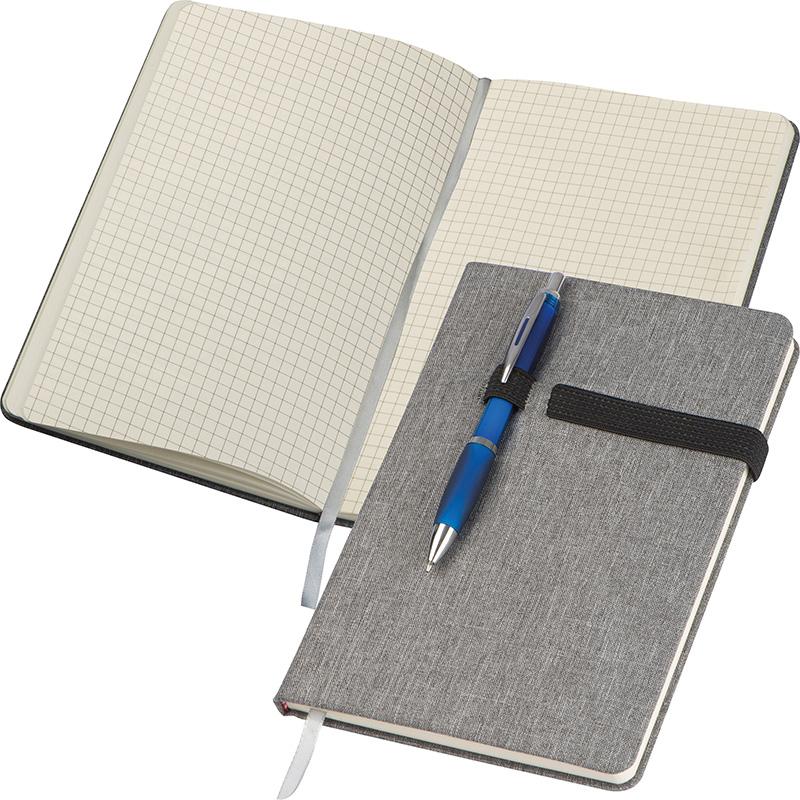 A5 Notizbuch mit karierten Seiten, Kugelschreiberschlaufe, Lesezeichen und Gummibandverschluss