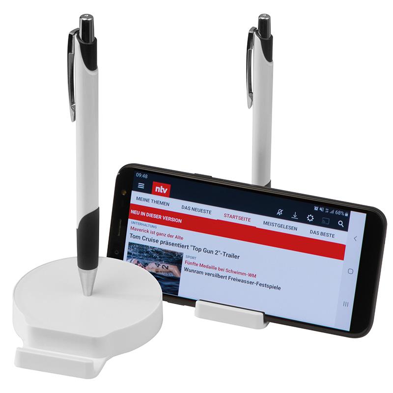 Handyhalter mit Magnetfunktion, inklusive Metallkugelschreiber mit blau schreibender Mine