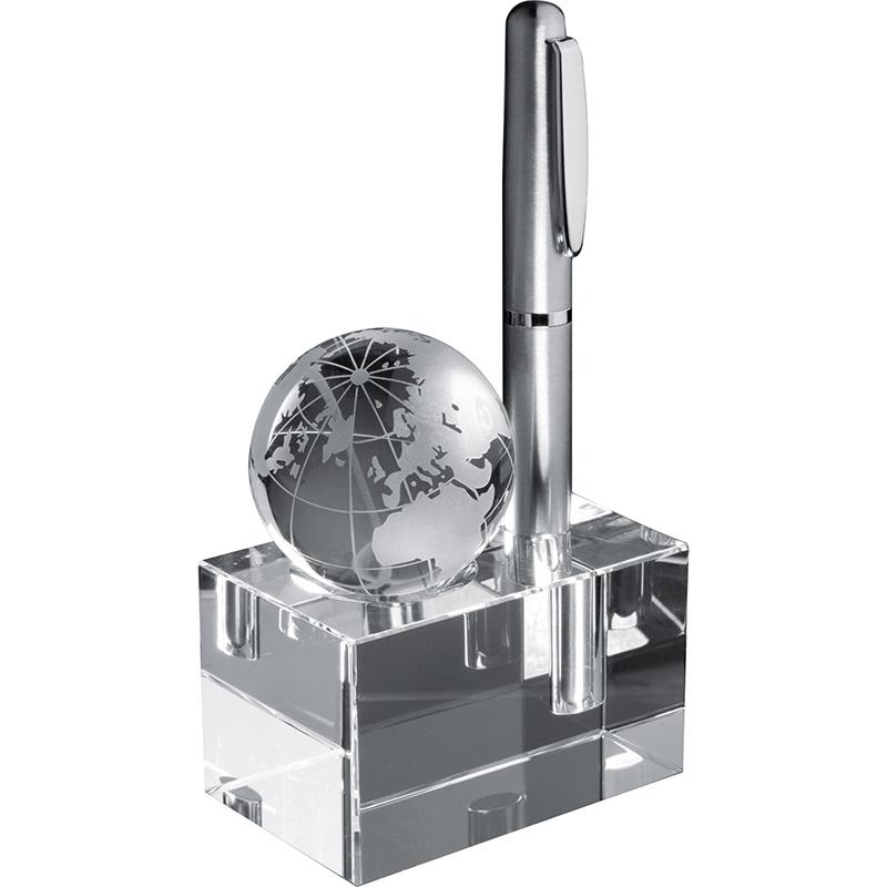 Stiftehalter aus Glas mit abnehmbarer Weltkugel
