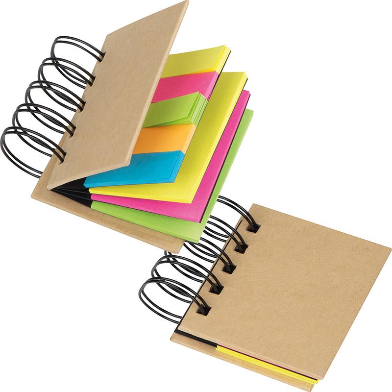 Kleines Ringbuch mit Haftmarkerstreifen und Haftnotizen