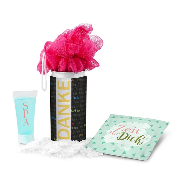 Geschenkset / Präsenteset: SPA Dose - Etikett Danke