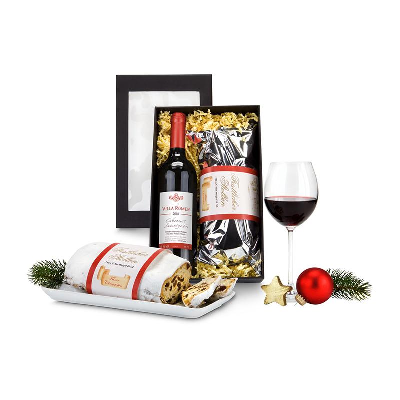 Geschenkset / Präsenteset: Rotwein & Stollen