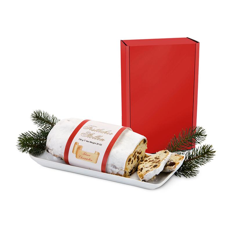 Geschenkset / Präsenteset: Christstollen im roten Geschenkkarton