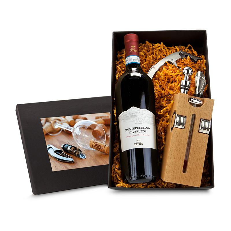 Geschenkset / Präsenteset: Buche-Block mit Wein