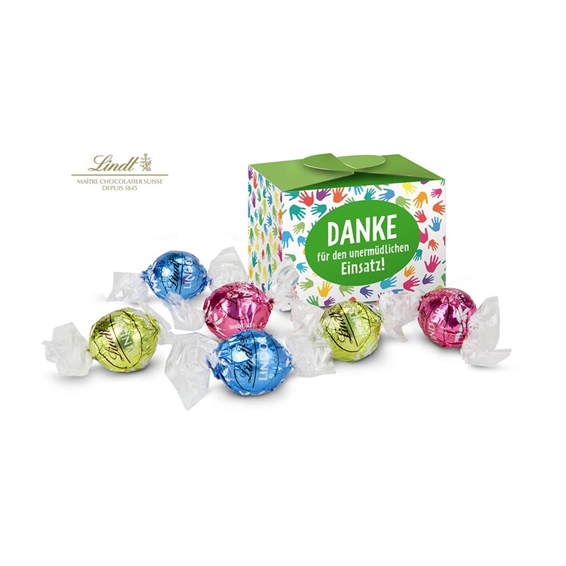 Geschenkartikel / Präsentartikel: Lindt süßes Danke, Pralinenschachtel mit bunten Händen, 6 Lindorkugeln