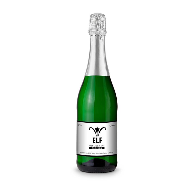 Sekt - Riesling - Flasche grün - Kapselfarbe Silber, 0,75 l