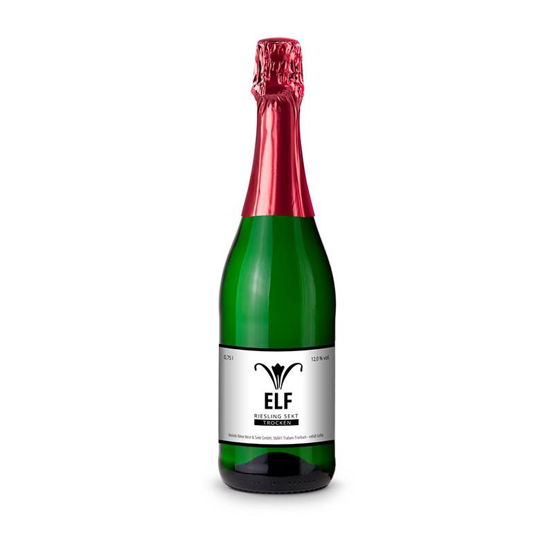 Sekt - Riesling - Flasche grün - Kapselfarbe Rot, 0,75 l