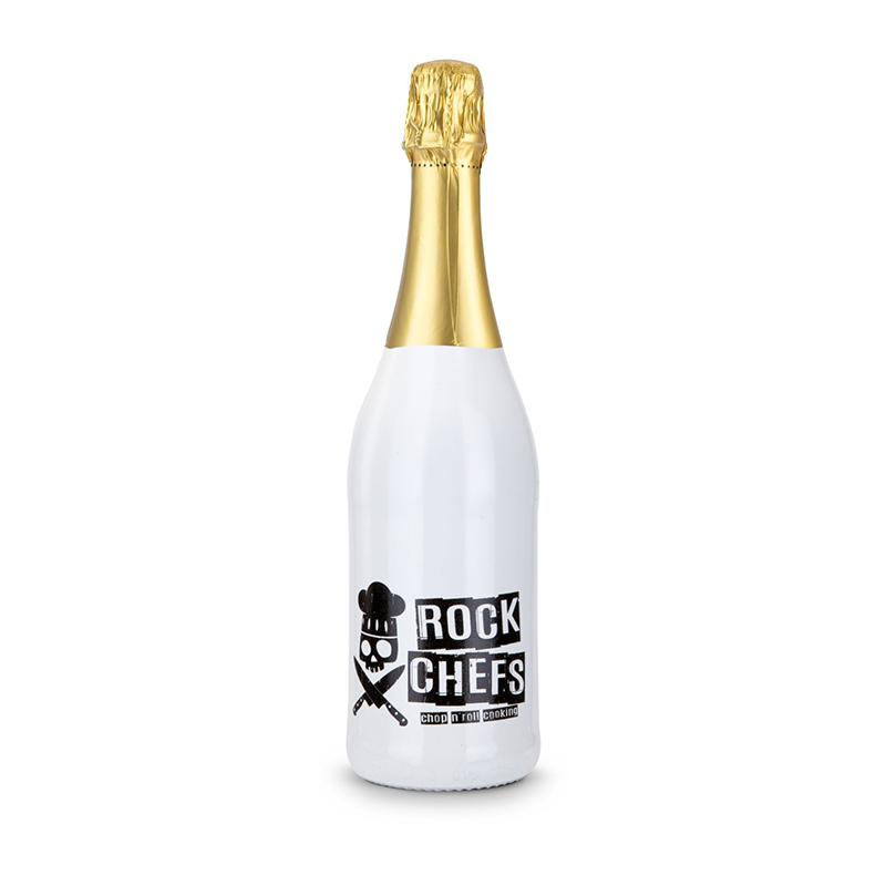 Sekt Cuvée - Flasche weiß-lackiert, 0,75 l