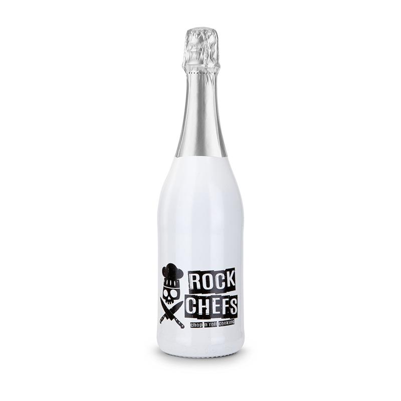 Sekt Cuvée - Flasche weiß-lackiert - Kapsel silber, 0,75 l