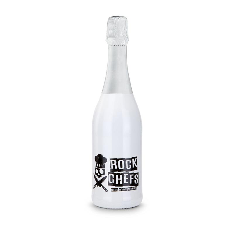 Sekt Cuvée - Flasche weiß-lackiert - Kapsel weiß, 0,75 l