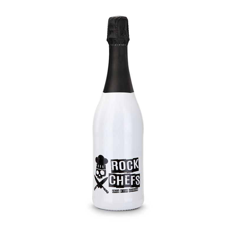 Sekt Cuvée - Flasche weiß-lackiert - Kapsel schwarz, 0,75 l