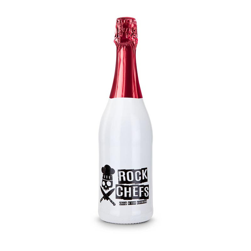 Sekt Cuvée - Flasche weiß-lackiert - Kapsel rot, 0,75 l