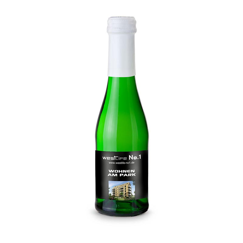 Sekt Cuvée Piccolo - Flasche grün - Kapsel weiß, 0,2 l