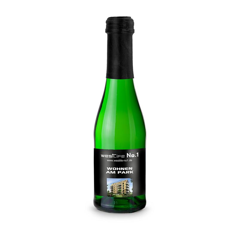 Sekt Cuvée Piccolo - Flasche grün - Kapsel schwarz, 0,2 l