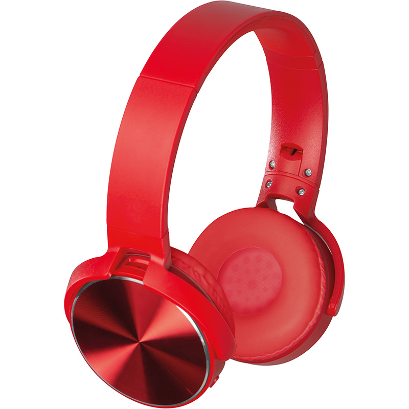 Bluetooth Kopfhörer mit Metallplatten auf den Ohrmuscheln