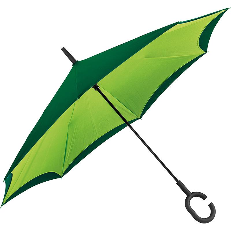 Umklappbarer Regenschirm aus 190T Pongee mit Griff zum Einhängen am Handgelenk
