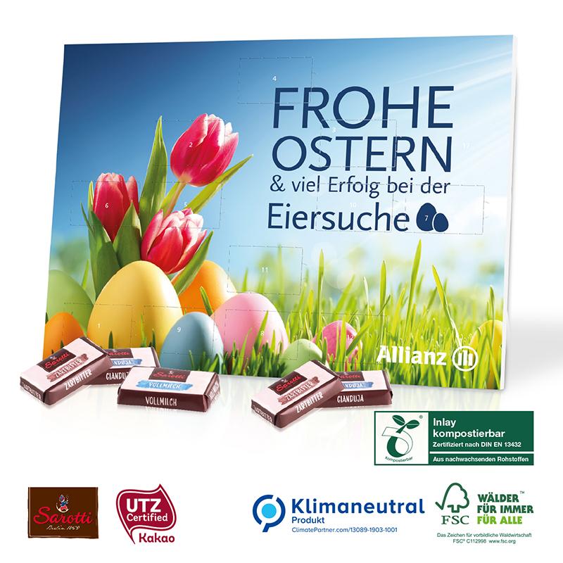 Tisch-Osterkalender Business Exklusiv mit 12 Türchen, Klimaneutral, FSC®