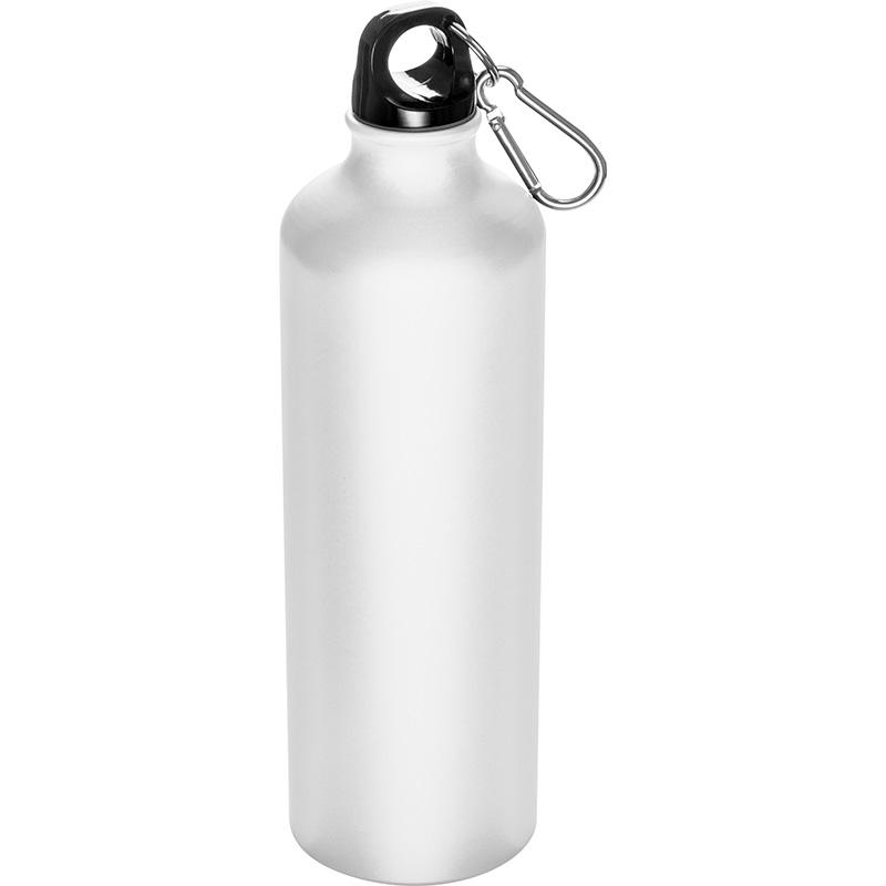 Trinkflasche aus Aluminium mit Karabinerhaken, 800 ml