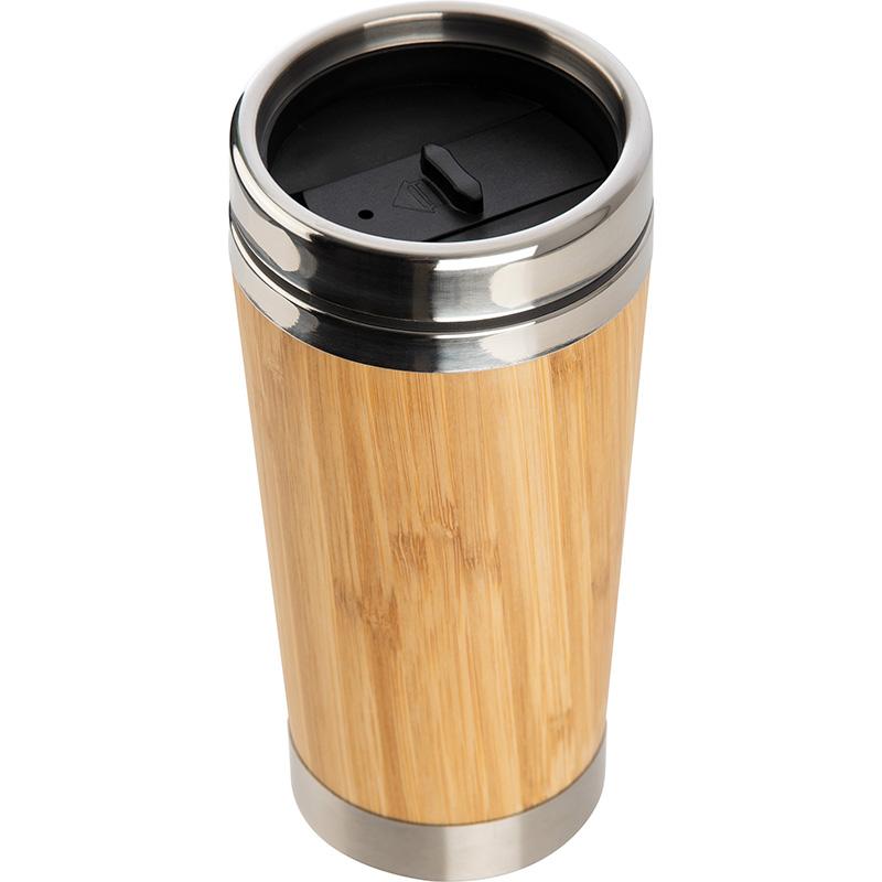Trinkbecher aus Edelstahl mit einer Bambussummantelung, 400 ml