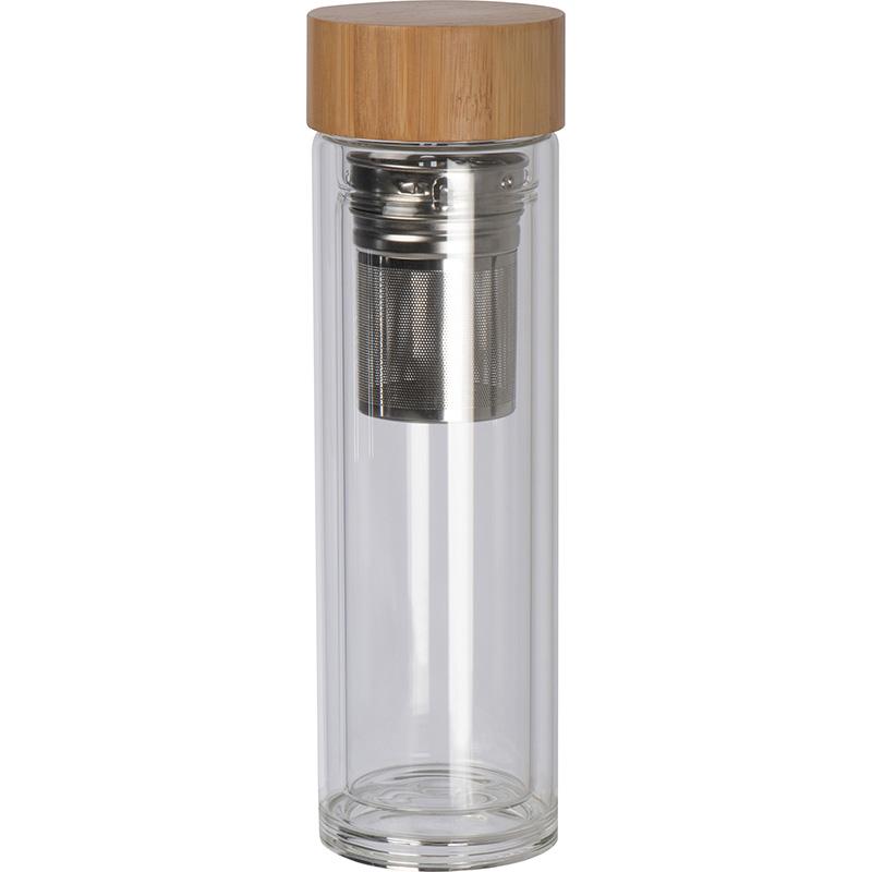 Glasflasche mit Deckel aus Bambus und einem Füllvermögen von 420 ml