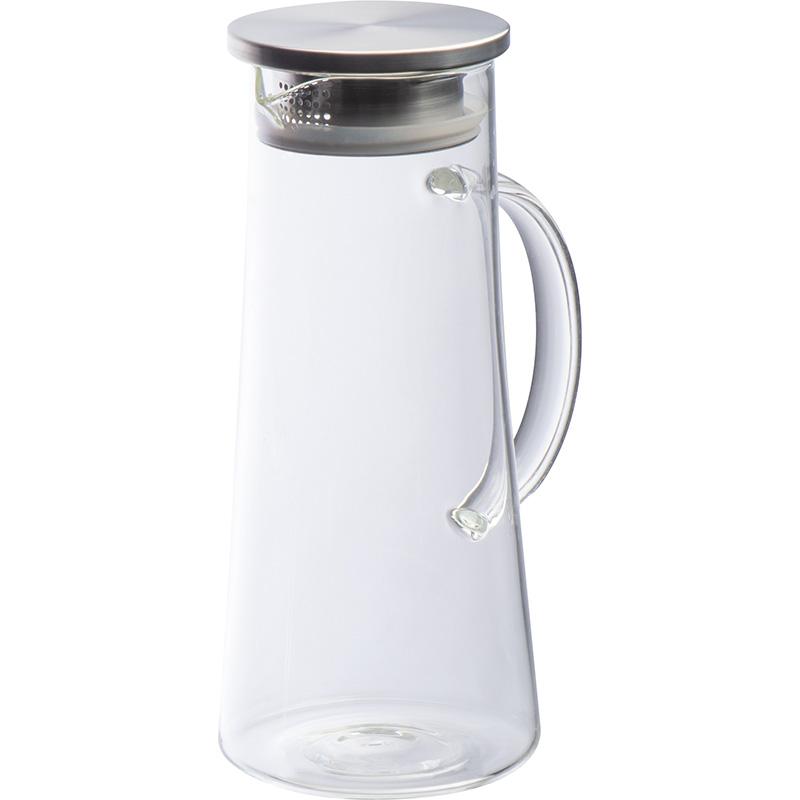 Glaskaraffe mit Deckel aus Edelstahl, 1.400 ml