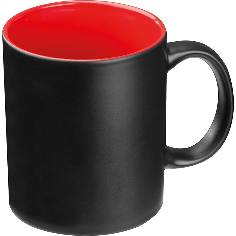 Tasse aussen schwarz, innen farbig