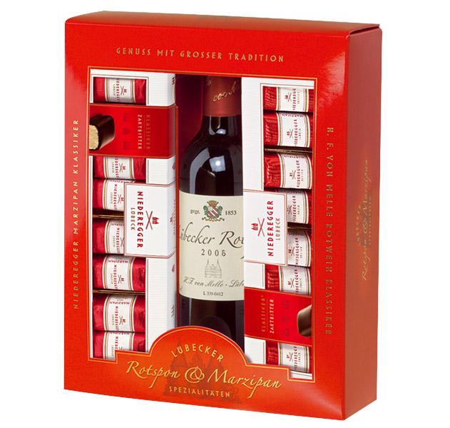Geschenkset Marzipan + Rotwein Klein
