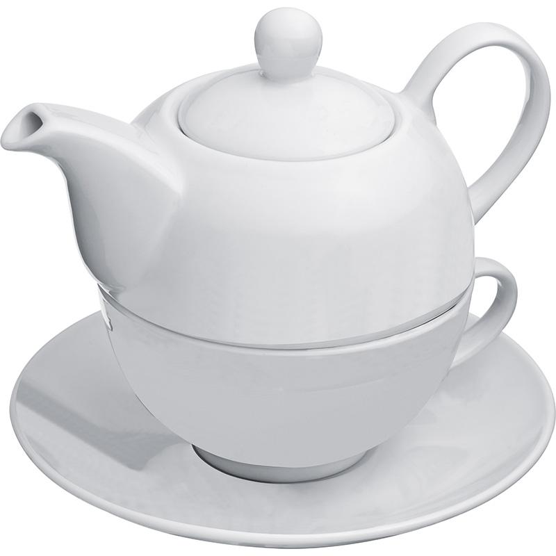 Teekanne (400 ml) mit einer Tasse (200 ml) und Untersetzer