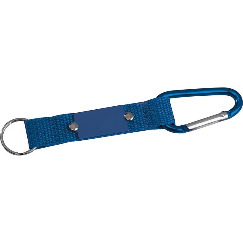 Schlüsselanhänger mit Karabiner und Plättchen aus Metall
