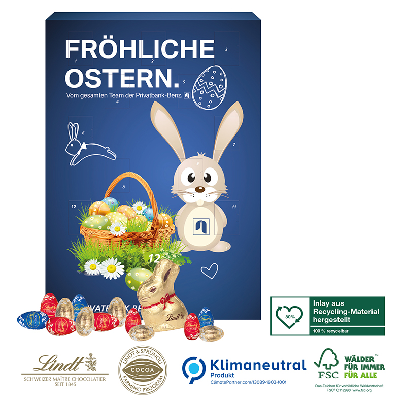 Osterkalender Lindt Gourmet Edition, Klimaneutral, FSC®
