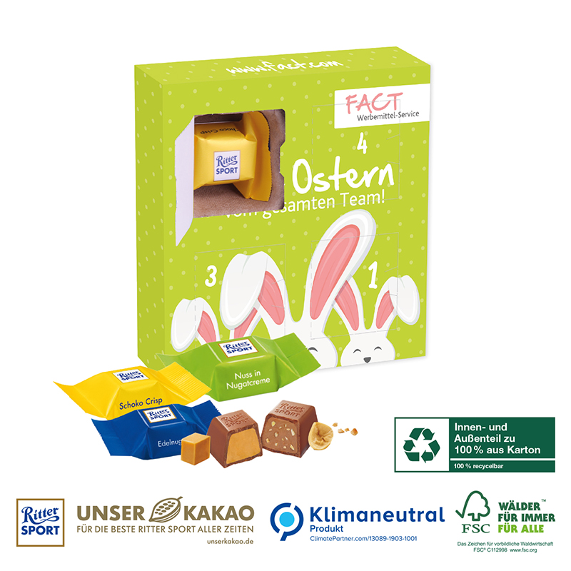 Karton-Osterkalender Ritter SPORT mit vier Türchen, Klimaneutral, FSC®