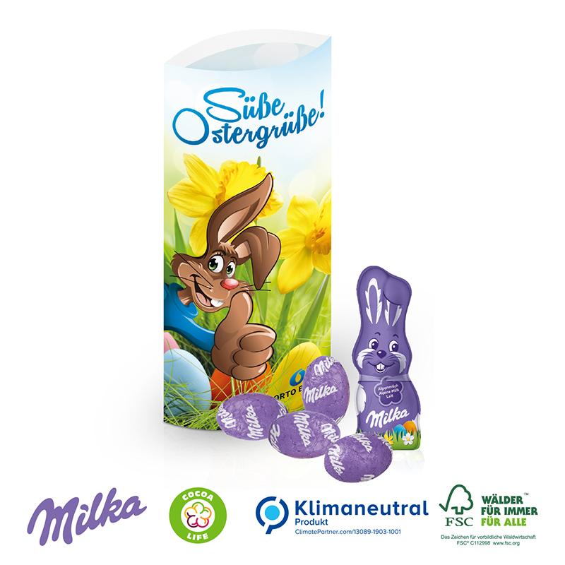 Kissenverpackung mit Milka Schokolade