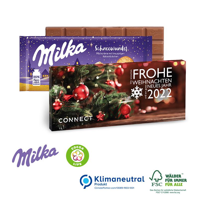 Milka Weihnachtsschokolade, 100 g, Klimaneutral, FSC®