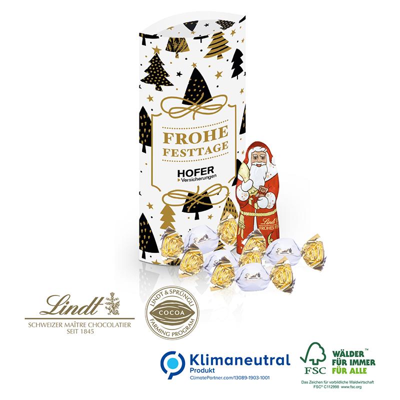 Kissenverpackung mit Lindt Schokolade, Klimaneutral, FSC®