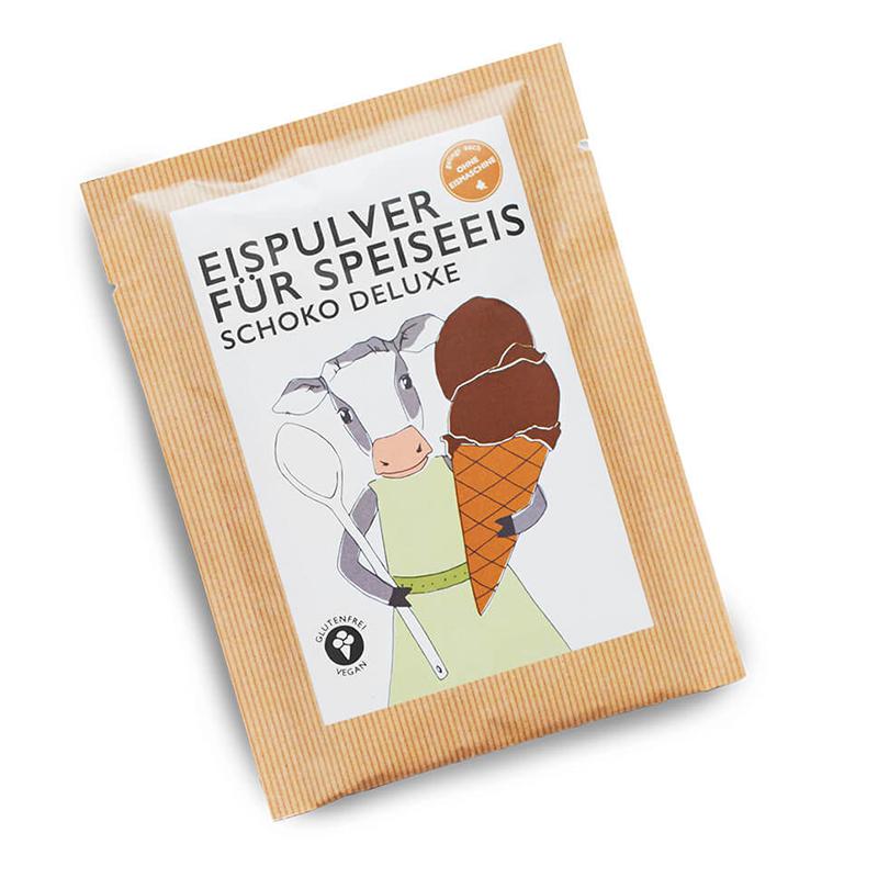Eismixglas und Portionsbeutel Schoko Deluxe im Fairtrade-Baumwollsäckchen