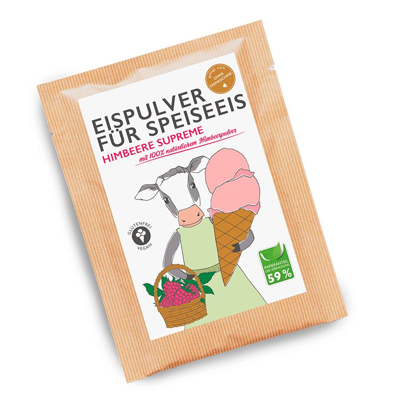 Eismixglas und Portionsbeutel Himbeere im Fairtrade Baumwollsäckchen
